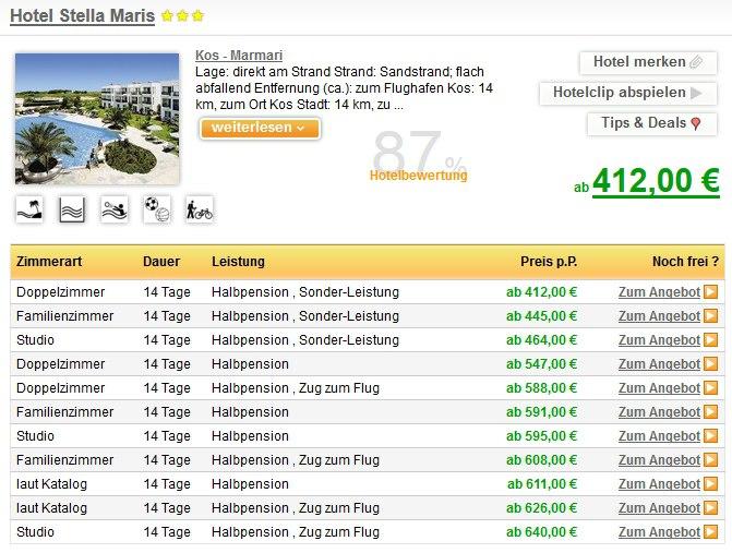 Urlaub auf der Insel Kos im 3 Sterne Hotel Stella Maris