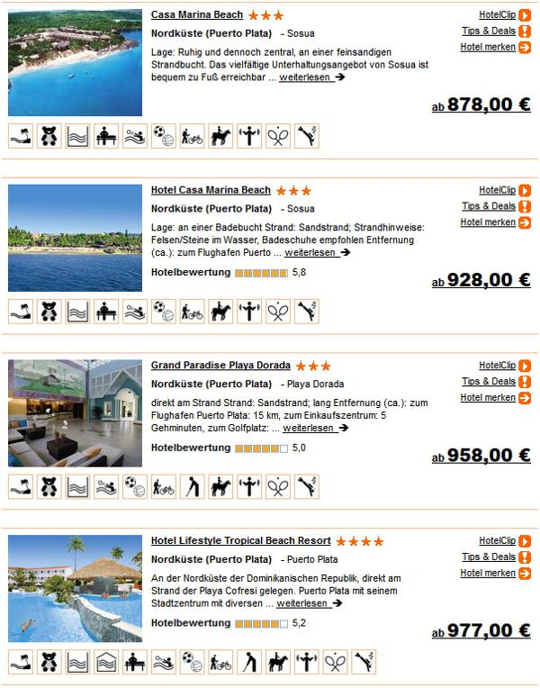 Dominikanische Republik 2 Wochen 3 - 4 Sterne Hotels All-inclusive ab 878 Euro